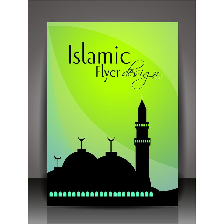Ramadan Vector on abstract green background sillhouette mosque Islamic flyer page Design