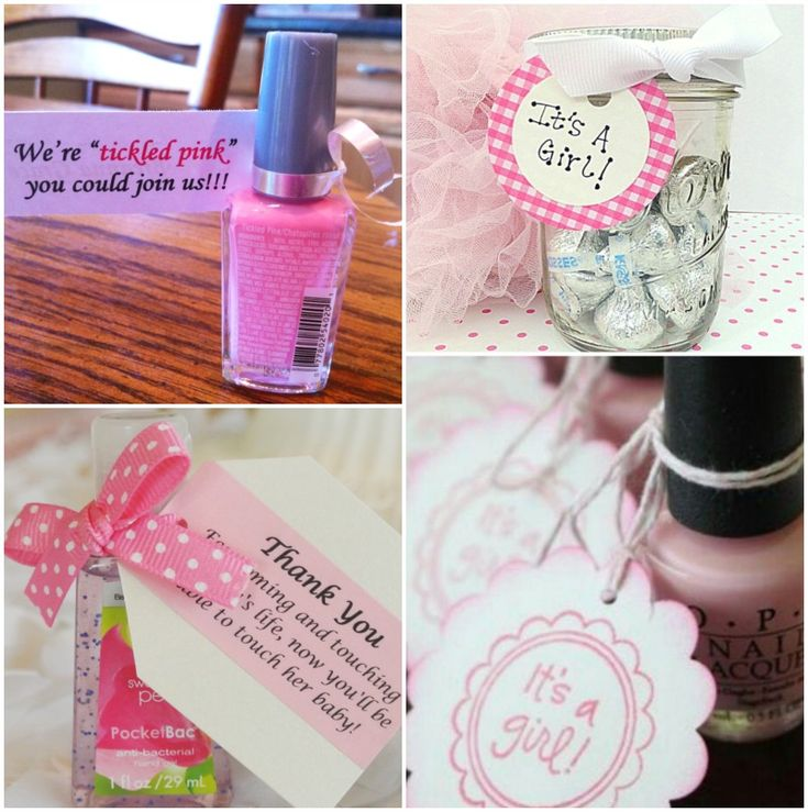 "pink baby shower ideas | Nail polish with free ""it's a girl"" tag. Image source . Tickled ..."