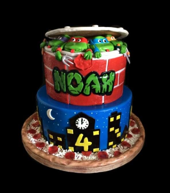 Teenage Mutant Ninja Turtles Cake I made for a lucky little boy named Noah who was turning 4 years old :)  Absolutely loved how this cake turned out!
