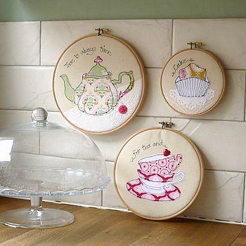Teatime Embroidery Hoop Trio