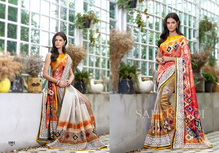 Multicolor Organic Linen Digital Print Exclusive Designer Sarees