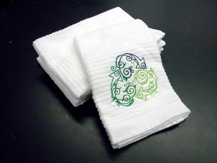 Recycle embroidered hand towel by ScooterSews on Etsy, $7.00