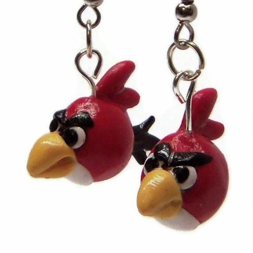 Red Angry Birds Handmade Whimsical Polymer Clay Dangle Earrings from CreativeCritters