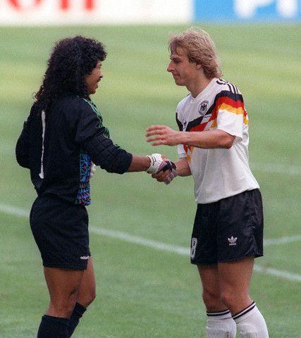 Coupe du monde 1990 Rene Higuita et Jurgen Klinsmann Allemagne colombie