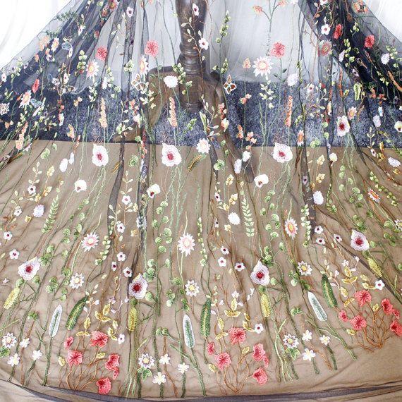 Breedte 47.24 inch zwarte Tule lace weefsel, bloemen geborduurde kant, floral lace trim, 3D lace weefsel, lace voor DIY dress,120CM(45-154)