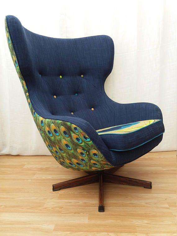 Peacock Design Greaves and Thomas Reupholstered Vintage Swivel