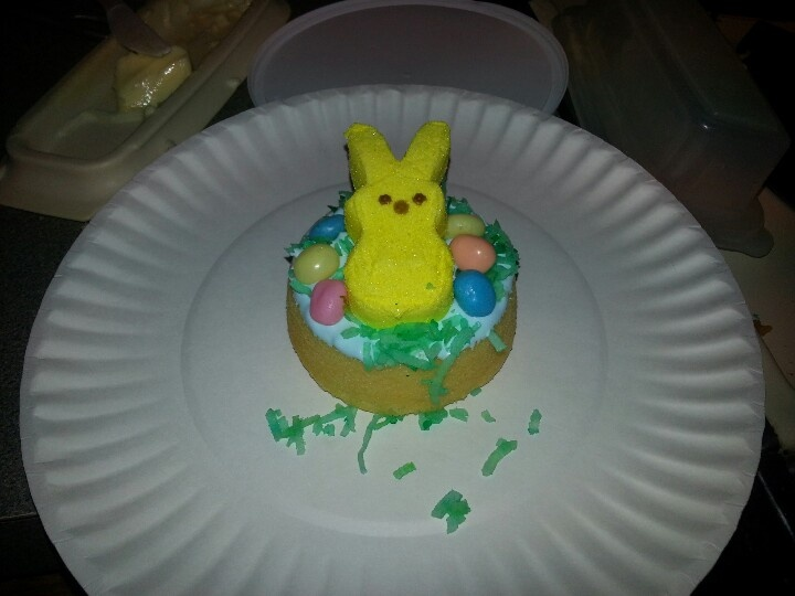 My proposed easter party craft for 1st grade. Sponge cake- cool whip-tinted coconut-jelly beans-and a peep