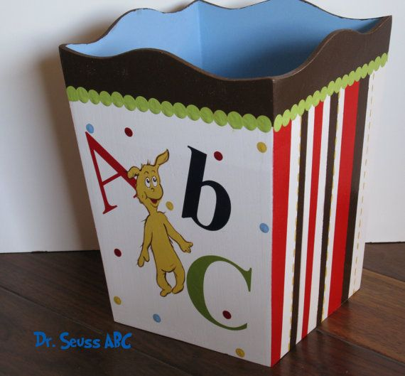 Hand Painted Dr Seuss ABC Nursery Wastebasket www.funkyletterboutique.com