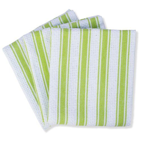 Mahogany Basket Weave Kitchen Towels With Color Stripes Lime Green Set Of 3 Mahogany