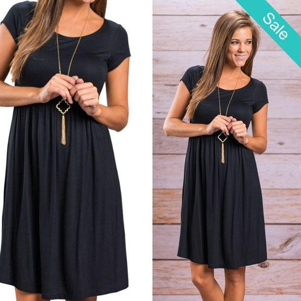 """Women's Casual Black Short Sleeve A-Line Empire Waist Summer/Fall Dresses -     Happy Weekend!!      **Online Orders 25% off  **Use code """"25off""""**"""