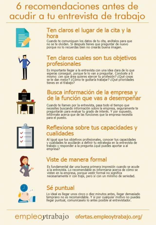 6 recomendaciones para tu entrevista de trabajo #infografia #infographic #empleo