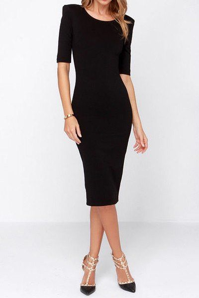 "The perfect black dress! This beauty is a comfortable fitted dress with a super cute v-neck back and gold zipper. Wear it out to dinner, a cocktail event, to work, or play! This versatile dress will be a favorite in your closet! Approx. Length: 43"" Note: This product runs 1 size small, order 1 size up"