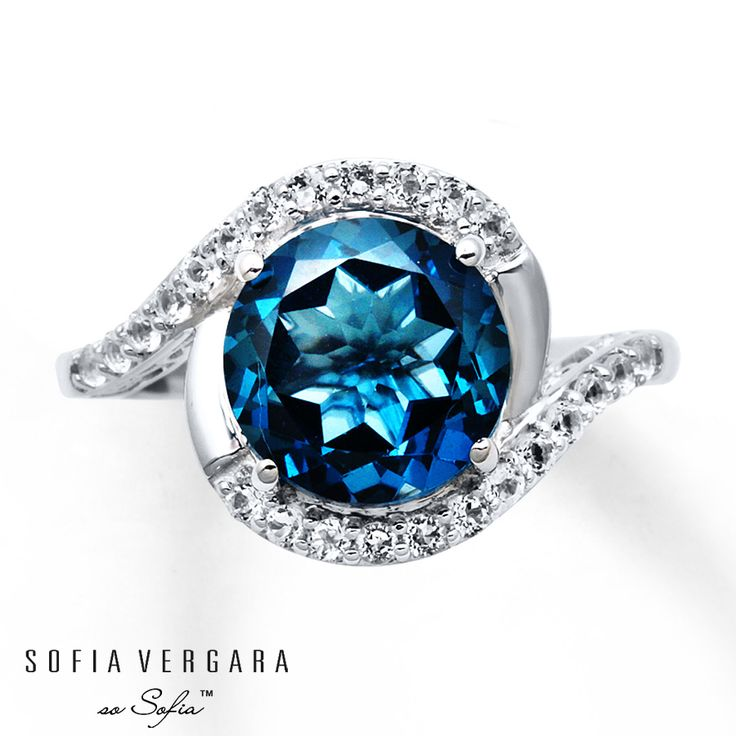 sofia vergara ring blue white topaz sterling silver on