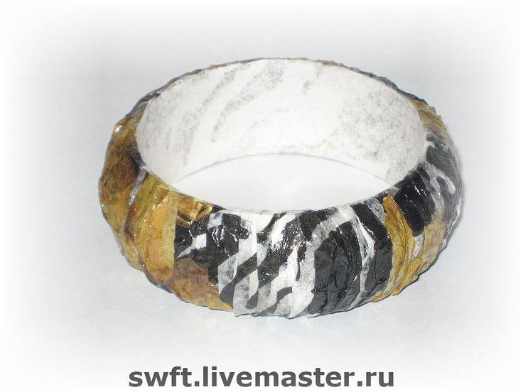 Купить Деревянный женский браслет Зебра+ Декупаж дерево черно-белый полосатый - браслет