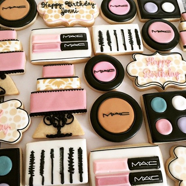 Girly, Girly Birthday! #MAC #makeup #fabulous #sweettcakes #decoratedcookies #decoratedsugarcookies #happybirthday
