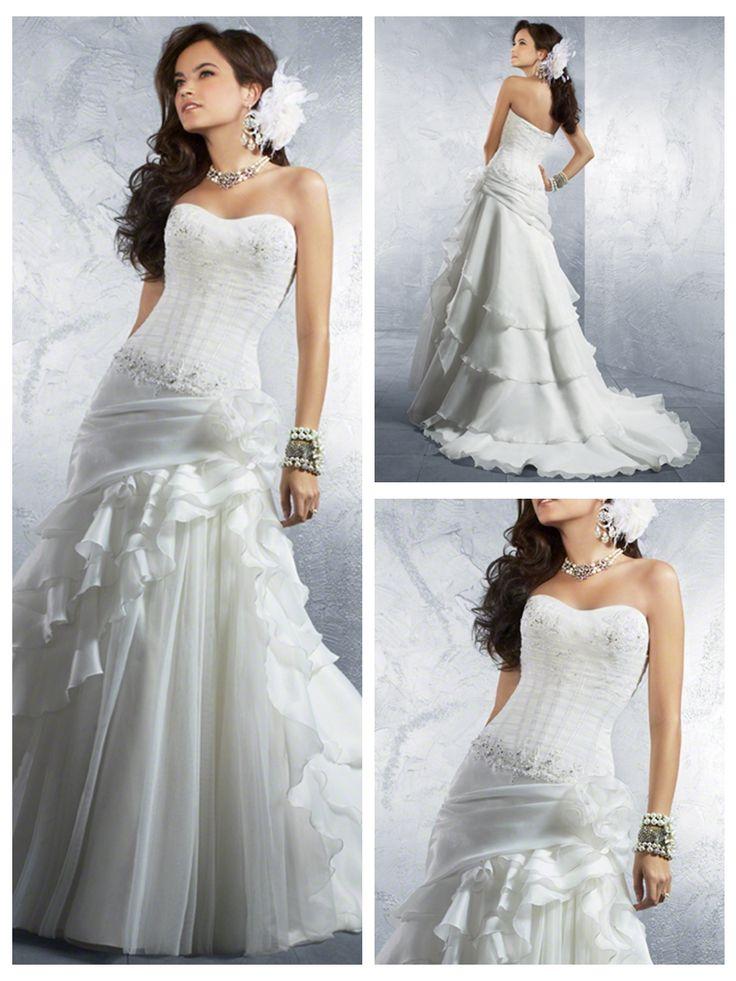 Trumpet/Mermaid Strapless Organza Satin Floor-Length discount unusual Wedding Dresses
