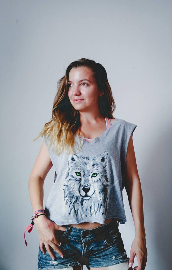 Gray wolf tshirt wolf design gray and white top tank top