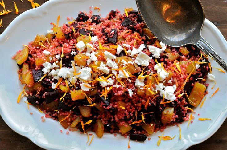 Bulgursalat med røde og gule beder og medister på en ny måde | JulieKarla