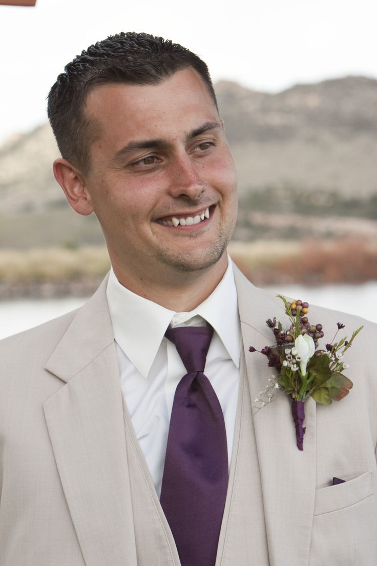 """My groom =) loved the tan suits and dark purple ties. Our colors were """"champagne"""" and """"plum/eggplant"""""""