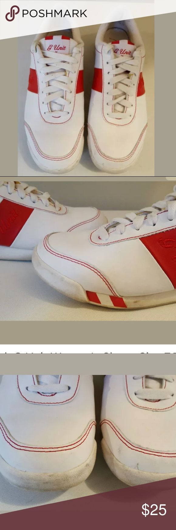 Vintage red and white Reebok G unit sneakers Good condition with minor scuffing and pilling, really cool and unique vintage look Reebok Shoes Sneakers
