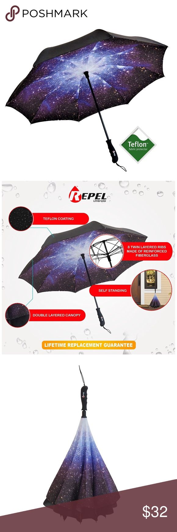 """Starry Double Teflon Reverse Folding Umbrella Repel sets the bar higher the state-of-the-art reverse folding umbrella innovative reverse folding frame allows for easy entry and exit from tight spaces like cars and doorways features 8 dual layered fiberglass ribs equipped with a """"fail-safe"""" technology that holds its own during extreme high gusts of wind coated with Teflon to protect against rain UV rays dirt Starry night color Dual layered This isn't a flimsy compact umbrella Large size The…"""