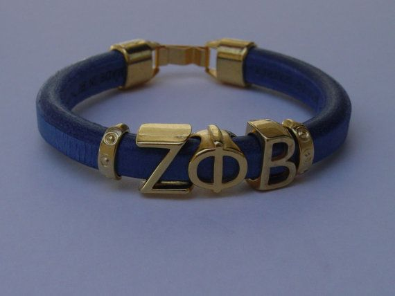 Zeta Phi Beta Greek Leather Bracelet Ladies Greece by LindosArt