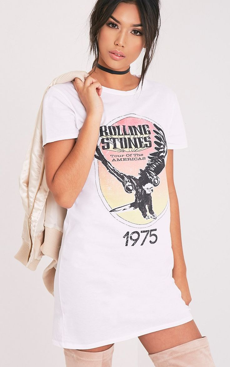 White t shirt dress outfit - Rolling Stones White T Shirt Dress