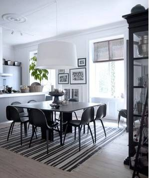 19 Amazing Kitchen Decorating Ideas. Striped Area Rug Under Dining Room  Table