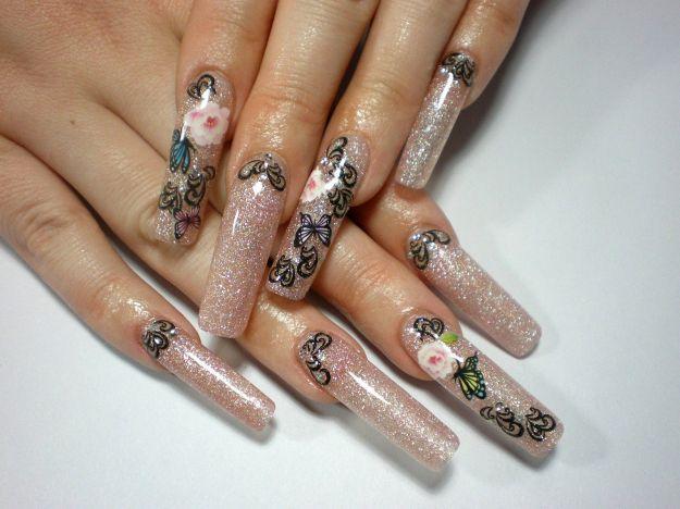 Нарощенные ногти с рисунком бабочек и цветов ::: onelady.ru ::: #nail #nails #nailart #manicure