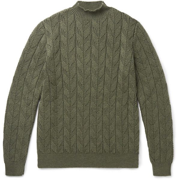 Etro Cable-knit Wool Sweater (42.935 RUB) ❤ liked on Polyvore featuring men's fashion, men's clothing, men's sweaters, mens chunky cable knit sweater, mens wool sweaters, mens woolen sweaters, mens cable knit sweater and mens cable sweater