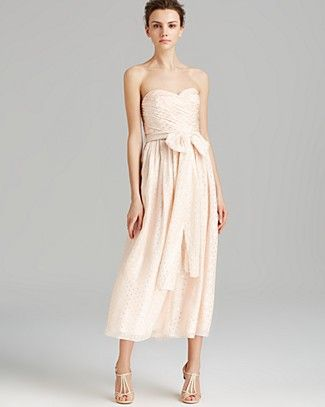 Jill Jill Stuart Dress - Strapless Metallic Dot Tea Length | Bloomingdale's