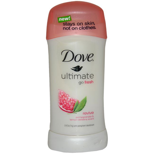 Go fresh with Dove Ultimate. The anti-perspirant deodorant has a pomegranate and lemon verbena scent, and stays on skin, not clothes. Brand: Dove Size: 2.6 ounces Quantity: One (1) Scent: Revive (pome