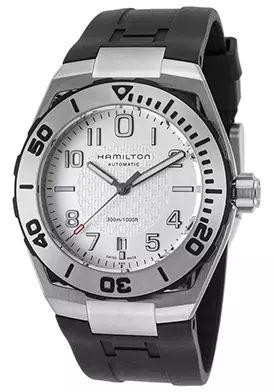 65% Off Hamilton Men's Khaki Navy Automatic Black Rubber Silver-Tone Dial Watch