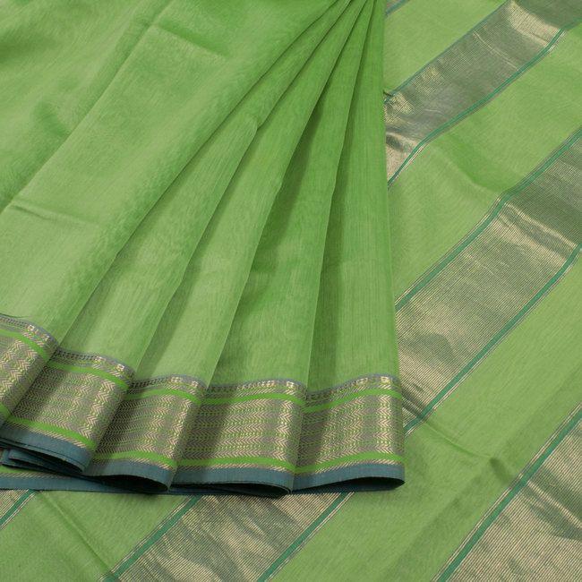 Buy online Handwoven Green Maheshwari Silk Cotton Saree With Zari Border 10013196