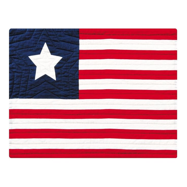 2 Grand Old American Flag Quilted Placemats