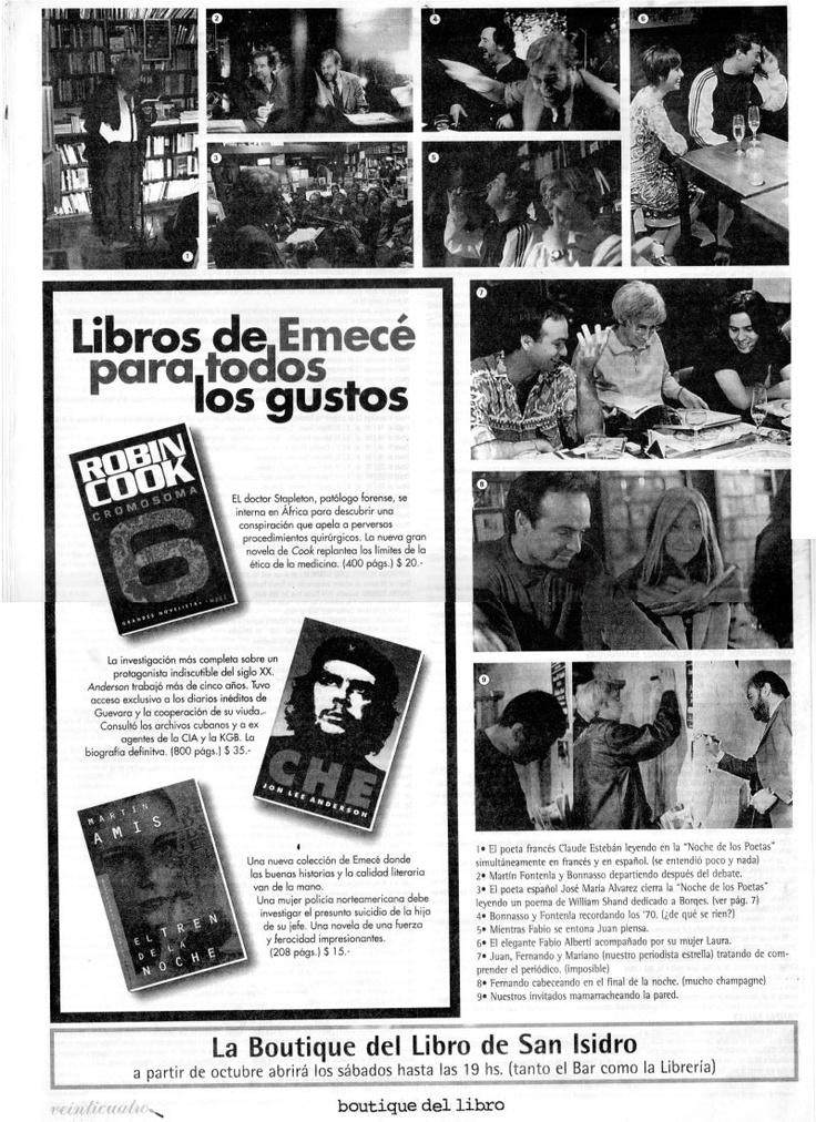 contratapa de la Edición 7 del Periódico Publicado por la Boutique del Libro San Isidro, 30 años