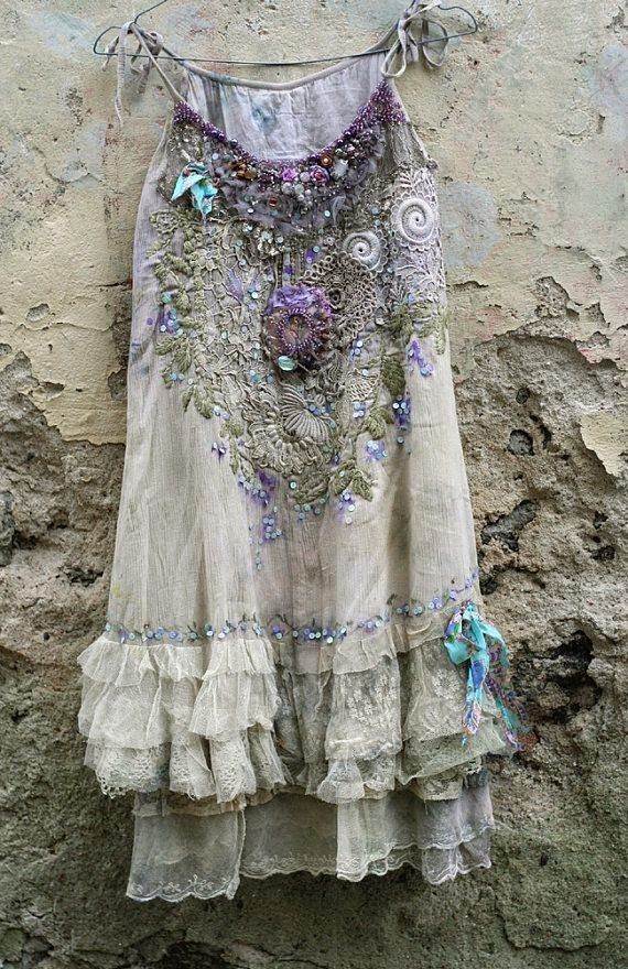 Romantic embroidered and beaded top/tunic, antique and vintage boho chic shirt