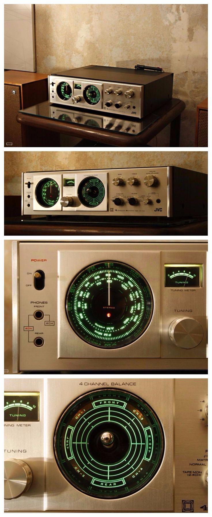 JVC 4MM1000 4-channel receiver - Phono, Aux 1, Aux 2, Tape, Tone Tuning range: FM, AM Power output: 40W/ch into 8 (quadraphonic) Frequency response: 20Hz to 50kHz Total harmonic distortion: 1% Input sensitivity: 0.26mV (mic), 3mV (MM), 120mV (DIN), 120mV (line) Signal to noise ratio: 65dB (MM), 70dB (line) Output: 100mV (line), 30mV (DIN) Speaker load impedance: 8 (minimum) Semiconductors: 1 x FET, 4 x IC, 34 x transistors, 20 x diodes Dimensions: 149 x 464 x 450mm Weight: 12kg | pin by…