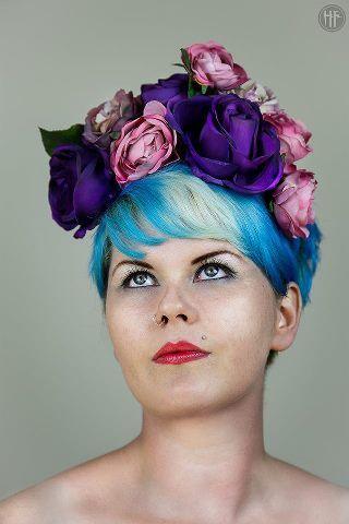 flower hair band purple bohemian frida kahlo fascinator bridal