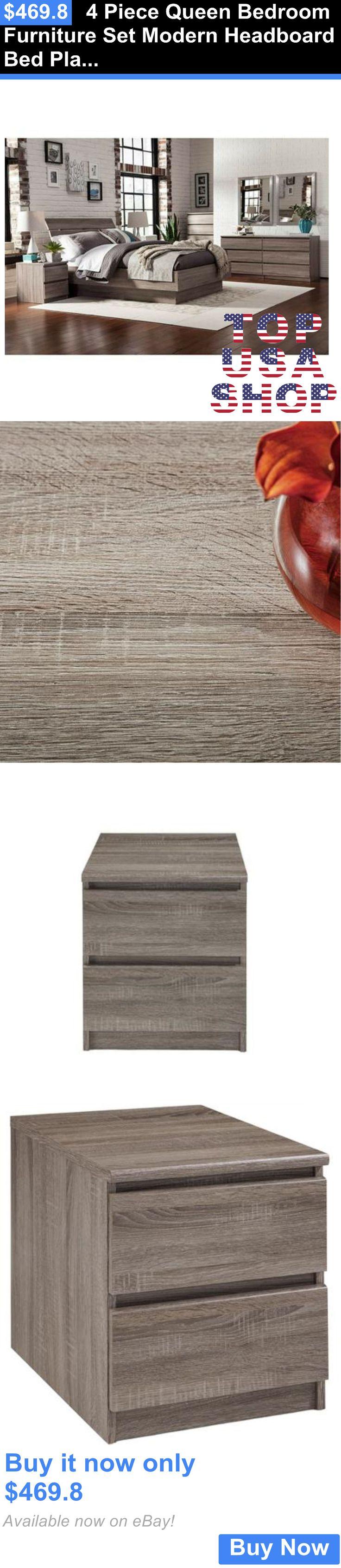Bedding: 4 Piece Queen Bedroom Furniture Set Modern Headboard Bed Platform Nightstand New BUY IT NOW ONLY: $469.8