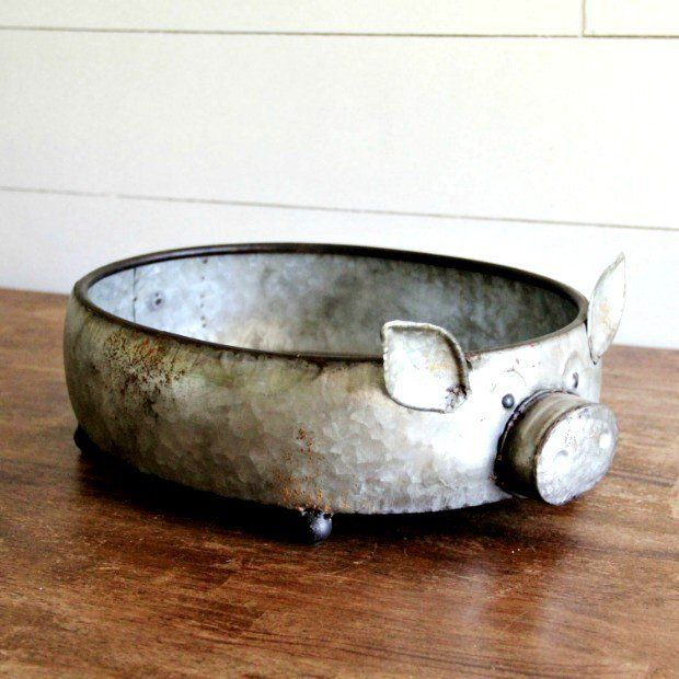 Whimsical Round Galvanized Pig Planter