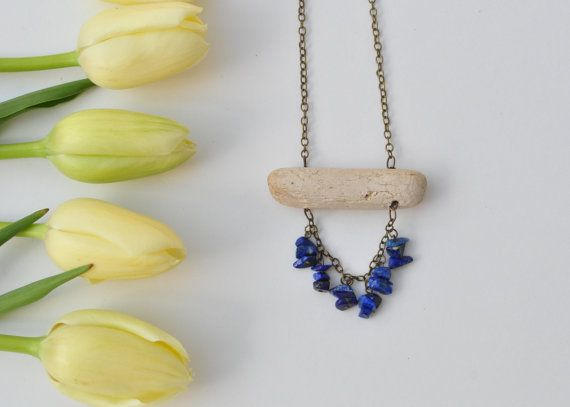 Natural Driftwood Necklace with Blue Lapis Lazuli Gemstone chips.Crystal healing jewellery.Lead & nickel free chain.Wood Necklace. $24.99 www.etsy.com/shops/TeaAndMaple