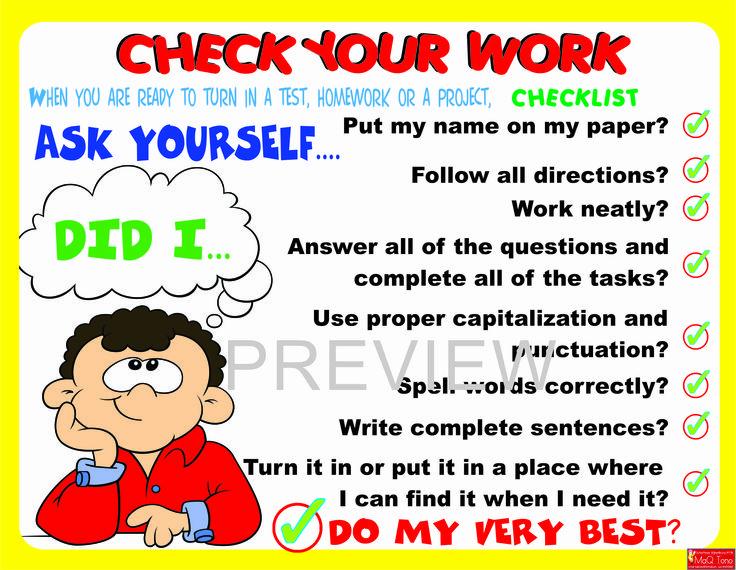 CHECK YOUR WORK POSTER https://www.teacherspayteachers.com/Store/Maq-Tono