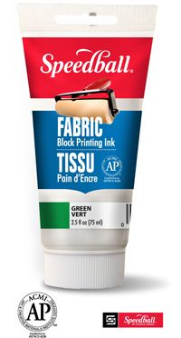 Fabric Block Printing Ink, does not require heat setting, can be used on natural or synthetic fabrics, permanent through washing, cleans up when wet with soap and water. Use for printing, apply with stamps, or paint on. Can be bought at amazon.com. myb