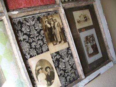 display vintage photos using old window panes