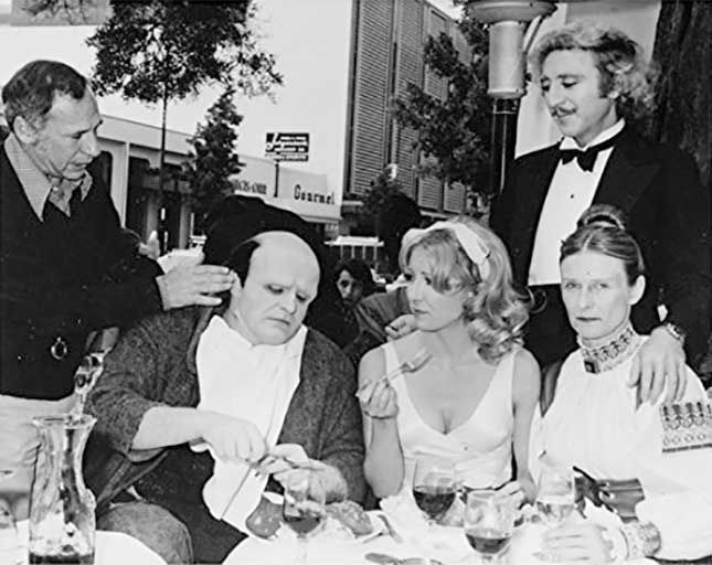 Mel Brooks, Peter Boyle, Teri Garr, Gene Wilder and Cloris Leachman on lunch break while filming Young Frankenstein