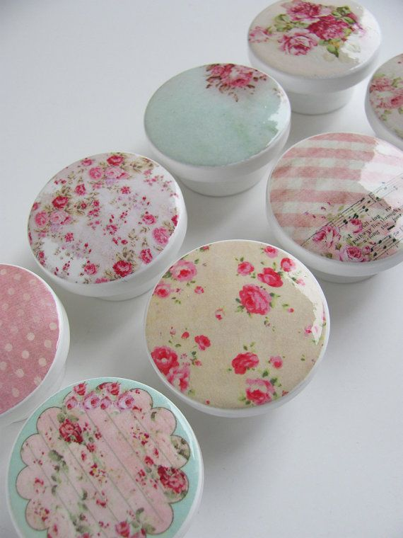 Girl's Pink Floral Drawer Knobs- Shabby Chic Rose Knobs, Polka Dot Knobs- Pink, Light Teal, Red- Wood Knobs- 1 1/2 Inches - Set of 8. $26.00, via Etsy.