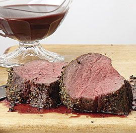 Spice-Rubbed Roast Beef Tenderloin with Red Wine Sauce recipe - use Bulletin Place Shiraz!