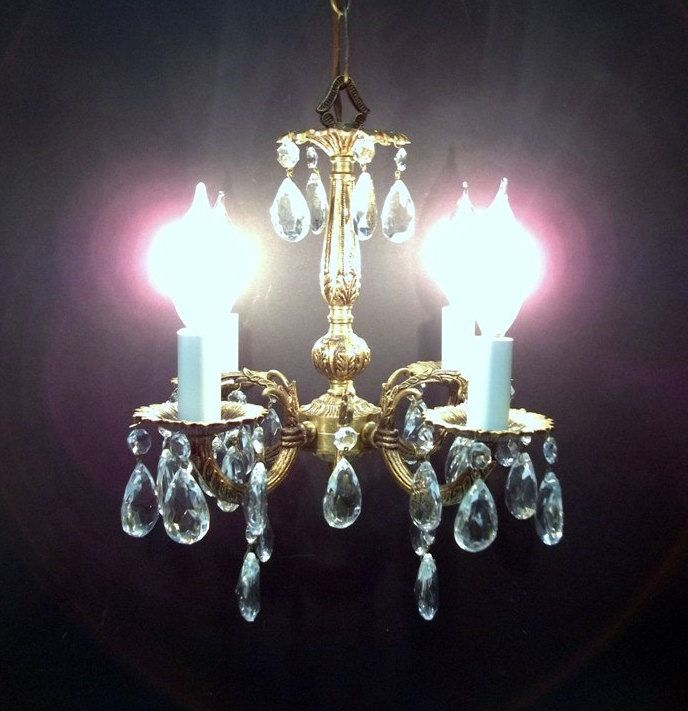 Four Light Petite Brass Crystal Chandelier Small Crystal Chandelier Girls  Room Foyer Entry Hall Closet Chandelier