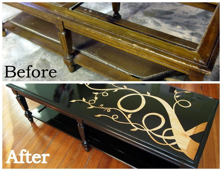 Woodgrain Coffee Makeover Fabulous before and after of a coffee table missing glass replace with pecan stained pine board, vinyl cutout pattern applied, spray painted black with several coats of gloss applied: